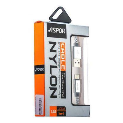 USB кабель Type-C Aspor А162 в тканевой оплётке 30 cm (3.0A) Серебряный1