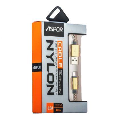 USB кабель Type-C Aspor А162 в тканевой оплётке 30 cm (3.0A) Золотой1