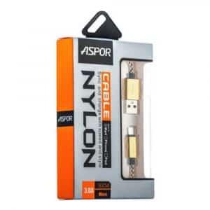 USB кабель Type-C Aspor А166 в тканевой оплётке 1,2m (2,4A) Золотой