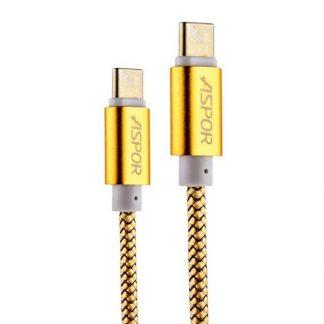USB кабель Type-C Aspor А166 в тканевой оплётке 1,2m (2,4A) Золотой - 1