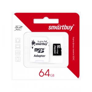 MicroSD 64GB Smart Buy Class 10 + SD адаптер