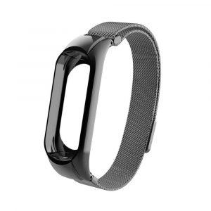 Миланский сетчатый браслет для Xiaomi Mi Band 3/4 Dark Gray (магнитный замок) - 1