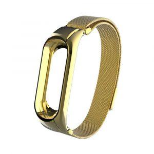 Миланский сетчатый браслет для Xiaomi Mi Band 3/4 Gold (магнитный замок) - 1