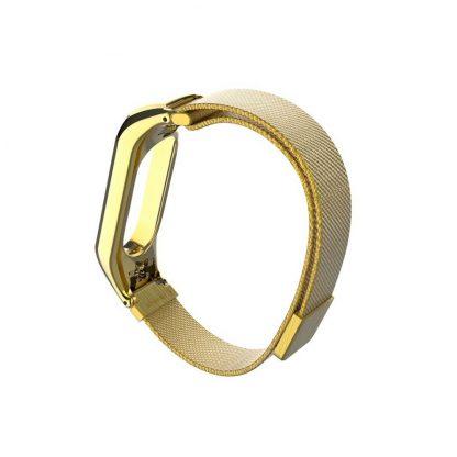 Миланский сетчатый браслет для Xiaomi Mi Band 3/4 Gold (магнитный замок) - 2