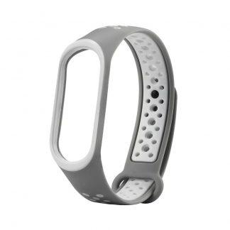 Ремешок силиконовый Nike Sport для Xiaomi Mi Band 3/4 Серый/Белый - 1