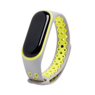 Remeshok Silikonovyj Nike Sport Dlya Xiaomi Mi Band 3 4 Seryj Zheltyj 1