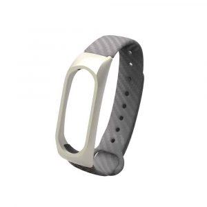Ремешок силиконовый с метал. корпусом для Xiaomi Mi Band 3/4 Серый - 1