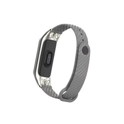Ремешок силиконовый с метал. корпусом для Xiaomi Mi Band 3/4 Серый - 2