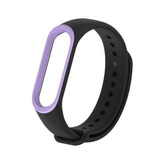 Силиконовый ремешок для Mi Band 3/4 - Черный/Фиолетовый (с кантом) - 1