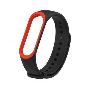 Силиконовый ремешок для Mi Band 3/4 - Черный/Красный (с кантом) - 1