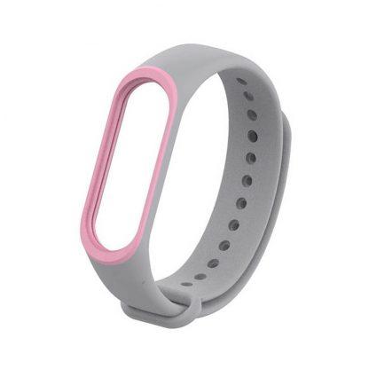 Силиконовый ремешок для Mi Band 3/4 - Серый/Розовый (с кантом) - 1