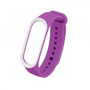 Силиконовый ремешок для Mi Band 3/4 Фиолетовый/белый (с кантом) - 1