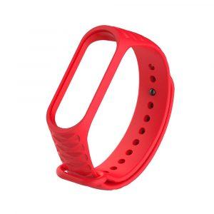 Силиконовый ремешок для Mi Band 3/4 - Красный (рифленый) - 1