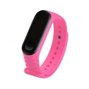 Силиконовый ремешок для Mi Band 3/4 Розовый(рифленый) - 1