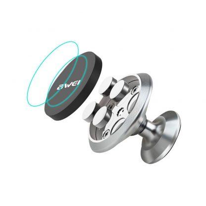 Автомобильный-магнитный-держатель-Awei-X6-Серебряный-2