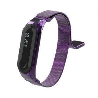 Миланский сетчатый браслет для Xiaomi Mi Band 3/4 - фиолет (магнитный замок) - 1